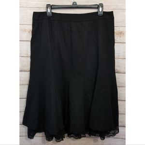Ann Taylor Loft Black Skirt with Lace Trim
